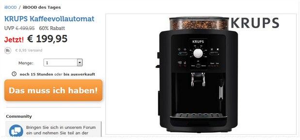 Fast unter 200 €: Krups EA 8000: Günstiger Kaffeevollautomat mit guten Bewertungen für 199,95 € + 5,95 € Versand bei iBOOD