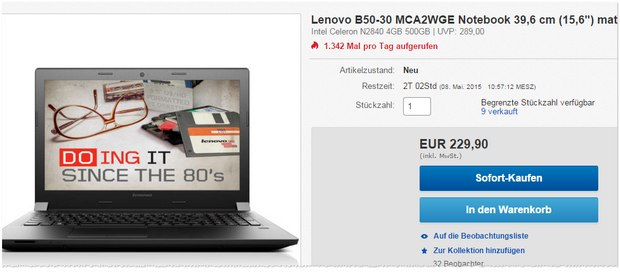 Lenovo B50-30 für 229,90 €