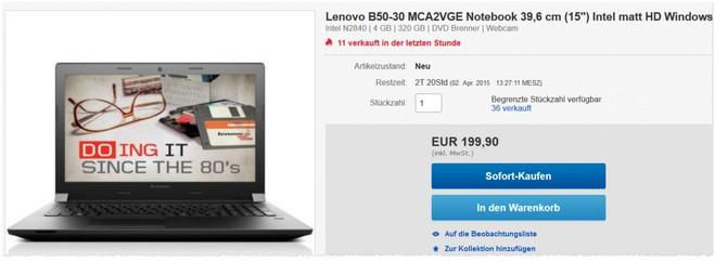 Lenovo B50-30 Notebook Preis