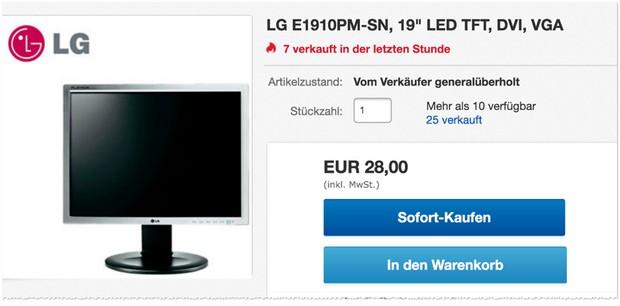 LG E1910PM-SN generalüberholt für 28 €