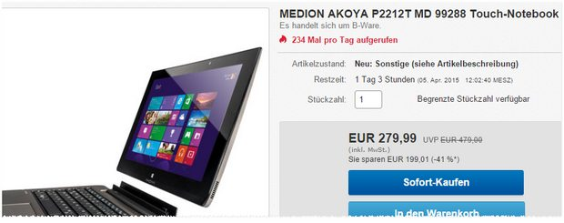 Medion Akoya P2212T MD 99288 Touch Notebook