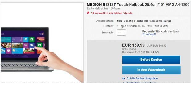 Medion E1318T im Outlet als B-Ware für 159,99 €