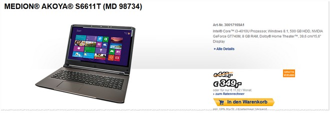 Medion Weekend Sale mit Akoya S6611T