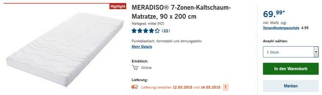 Meradiso Kaltschaum-Matratze