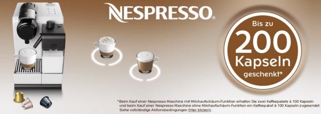 Nespresso Aktion 2015 mit Gratis-Kapseln