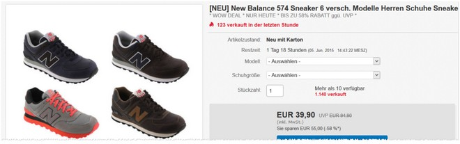 New Balance Sneaker 574 Angebot