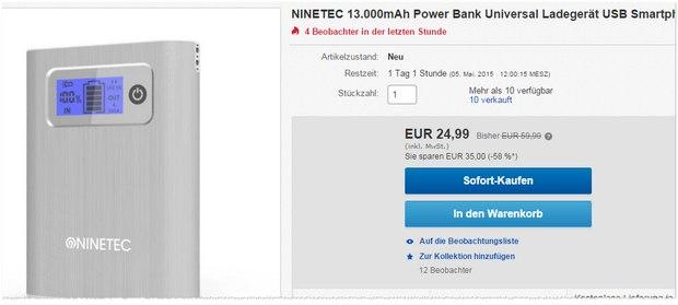 Ninetec Power Bank NT 568 für 24,99 €