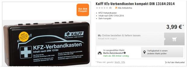 OBI Verbandskasten von Kalff für 3,99 €
