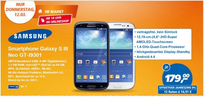 Samsung Galaxy S III Neo GT‑I9301 bei Real