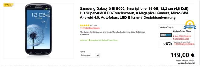 Samsung Galaxy S III i9300 ohne Vertrag als Gebraucht-Angebot