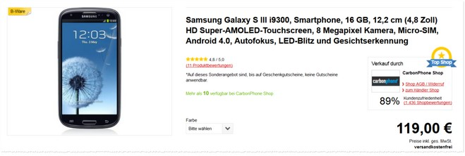 Samsung Galaxy S3 Neo - Saturn Prospekt am 24.2.16: 139