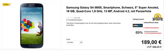 Samsung Galaxy S4 mit B-Ware-Preis