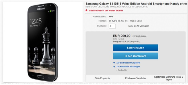 Samsung Galaxy S4 Value Edition günstiger