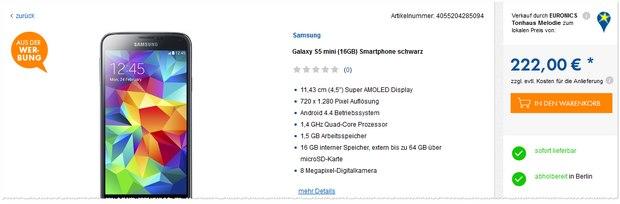 Samsung Galaxy S5 mini aus der Euronics-Werbung für 222 €