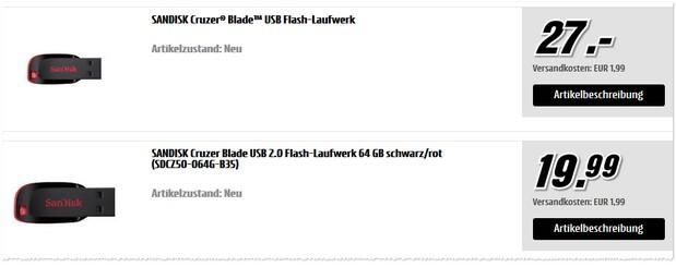 SanDisk Cruzer Blade USB-Stick 128GB für 27 €