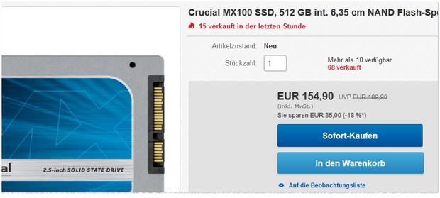 Crucial MX100: SSD-Festplatte (512GB) für 154,90 € bei Gravis