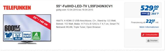 Telefunken L55F243N3CV1 Real-Angebot