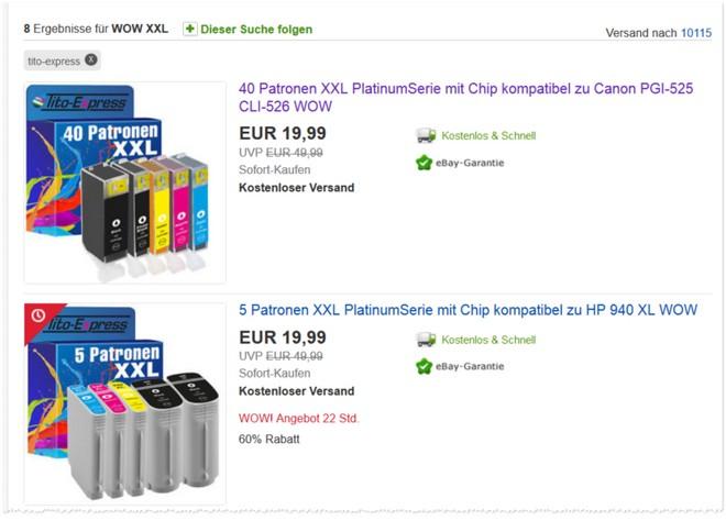 Tintenpatronen bei eBay im Angebot