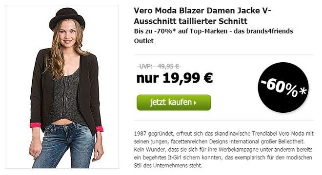 Günstige Vero Moda Blazer gibt's im brands4friends Outlet für 19,99 €