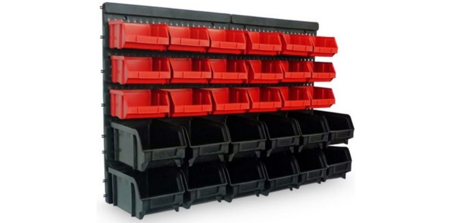 Werkstattregal mit Stapelboxen