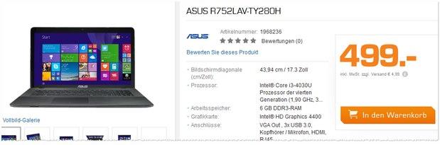 ASUS R752LAV-TY280H aus der Saturn-Werbung für 499 Euro