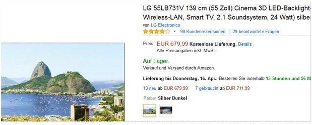 Der Preis für den LG 55LB731V liegt bei Amazon äußerst niedrig