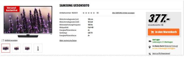 Samsung UE50H5070 bei Media Markt für 377 €