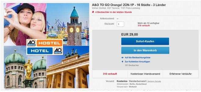 A&O to go Orange Gutschein für 29 Euro