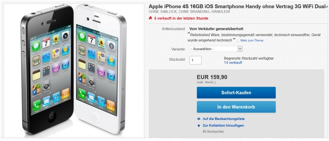 Apple iPhone 4S generalüberholt