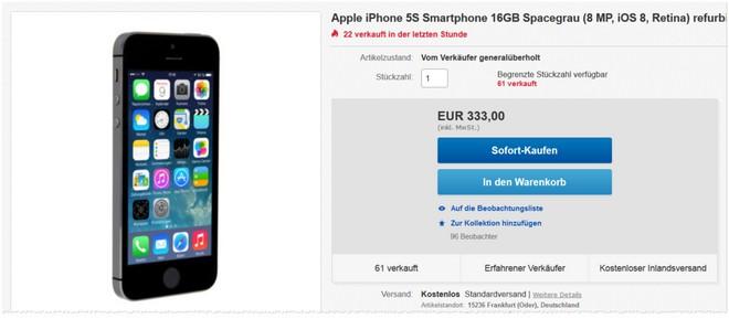Apple iPhone 5S ohne Vertrag generalüberholt