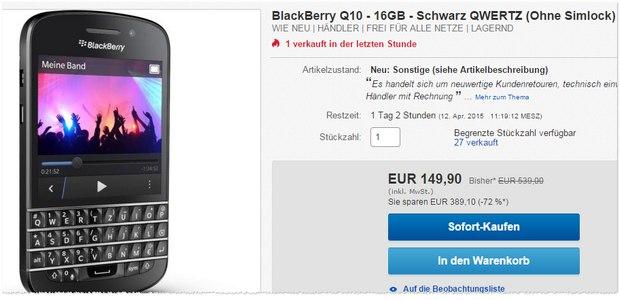 BlackBerry Q10 ohne Vertrag