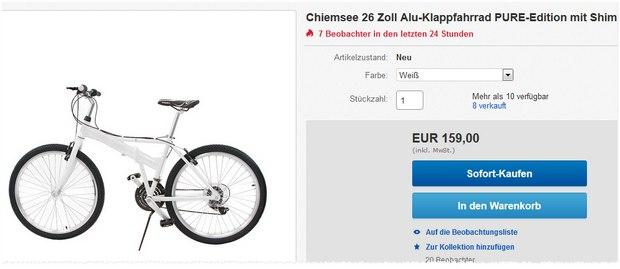 Chiemsee-Klappfahrrad für 159 € bei eBay