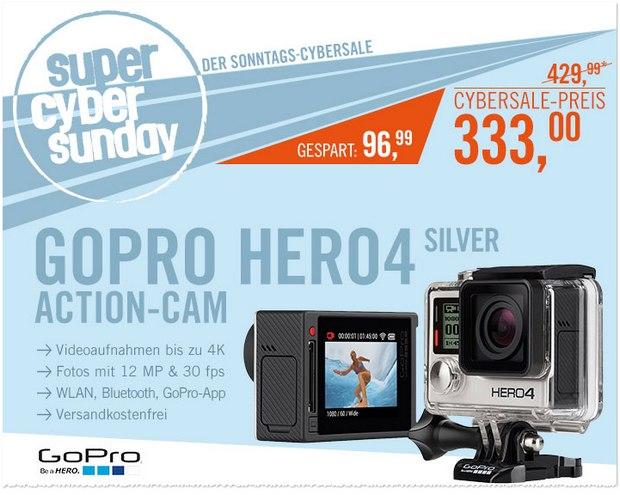 Super Cyber Sunday am 12.4.2015: Sonntags-Cybersale von Cyberport mit GoPro Hero 4 Silver Edition für 333 €