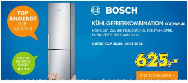 Euronics Donnerstagsangebot ab 30.4.2015 mit Bosch Kühl-Gefrier-Kombination