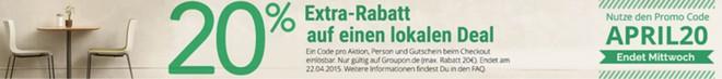 20% Extra-Rabatt auf Groupon Deals mit Gutschein im April 2015