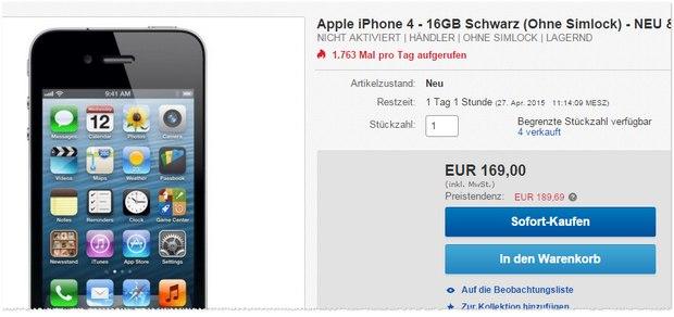 iPhone 4 neu ohne Vertrag für 169 €