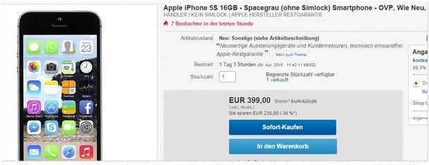 iPhone 5S wie neu für 399 €