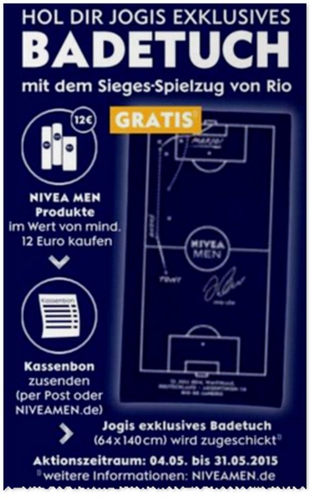 Jogis Badetuch mit dem WM-Spielzug als Nivea-Men-Geschenk