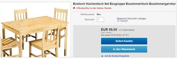 Kiefern-Esstisch für 99 €