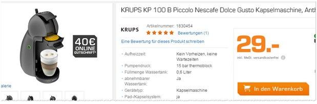 Krups KP 100 B Nescafe Dolce Gusto Piccolo bei Saturn für 29 €