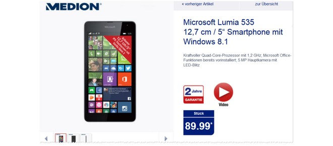 Nokia Lumia 535 Saturn