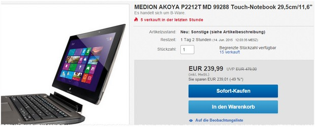 Medion Akoya P2212T: Convertible als B-Ware im Medion Outlet 239,99 €
