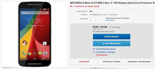 2. Generation des Motorola Moto G bei eBay günstig
