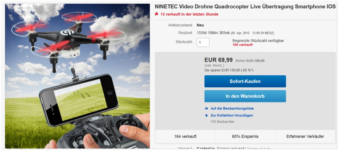 NINETEC Video Drohnen-Quadrocopter