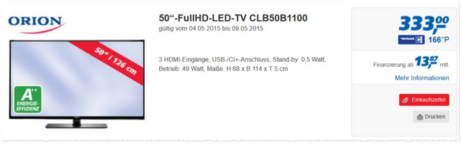 Orion CLB50B1100 als Real-Angebot