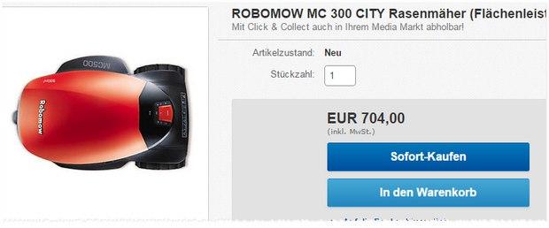 Der Rasenmäher-Roboter Robomow MC 300 ist im Media Markt Outlet auf 704 € reduziert