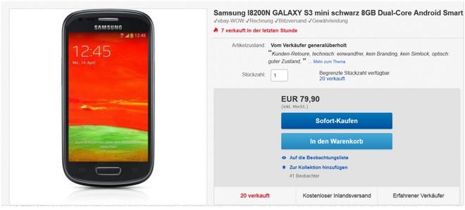 Samsung Galaxy S3 mini: gebraucht in gutem Zustand