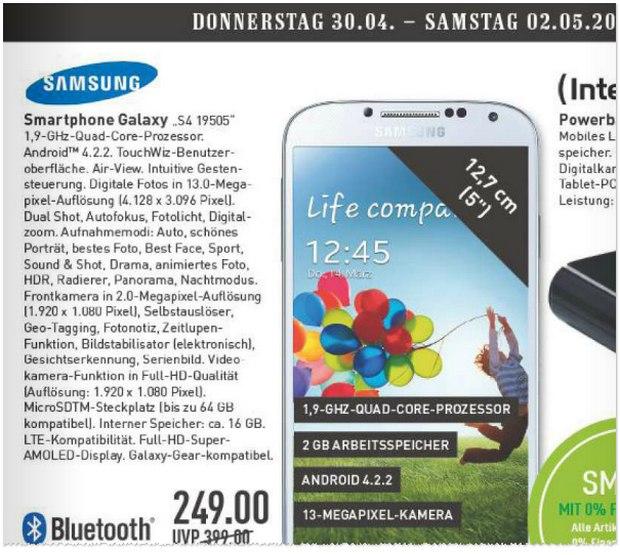 Samsung Galaxy S4 als Marktkauf Wochenend-Angebot