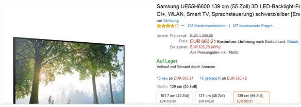 Samsung UE55H660 als Amazon-Preisfehler für 663,21 €?