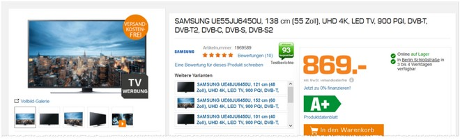 Samsung UE55JU6450 im Angebot